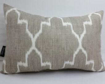 """Taupe and white lumbar decorative pillow 18"""" x 12"""" ikat,"""