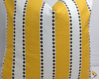 "Yellow, taupe and white decorative throw pillow 18 x 18""  lulu stripe"