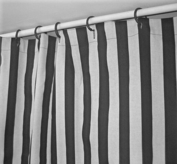 navy blue and white stripe shower curtain 72w x 84l finnigan indigo