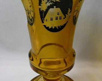 Amber-colored Bohemian Beaker