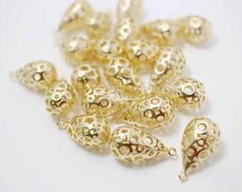 P0246/Anti-Tarnished Matte Gold Plating Over Bras/Three Dimension Hollow Drop Pendant/19x10mm/2pcs