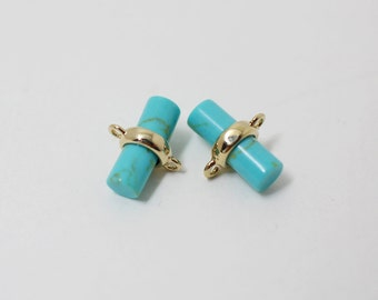 P0260/Anti-Tarnished Gold Plating Over Brass+Turquoise/Cylinder Glass Charm Connector/9x 5.mm/2pcs