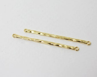 P0321/Anti-Tarnished Gold Plating Over Brass/Thin Hammered Bar Pendant/34x1.5mm/2pcs