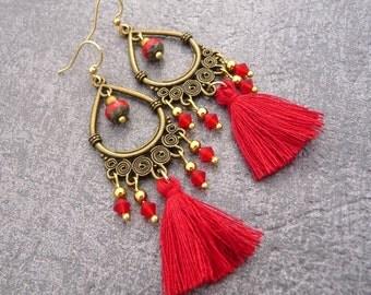Earrings Bohemian red handmade pompon bohemian red swaroski Crystal tassel earrings