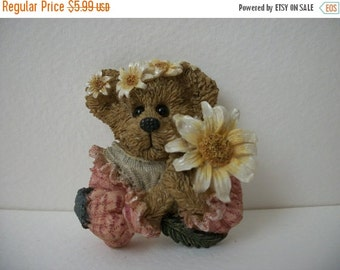 ON SALE Adorable Vintage Little  Girl Bear Holding Flowers Pin 148