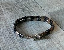 Petite Fit Bronze Tila bead with Super Duo beads bracelet