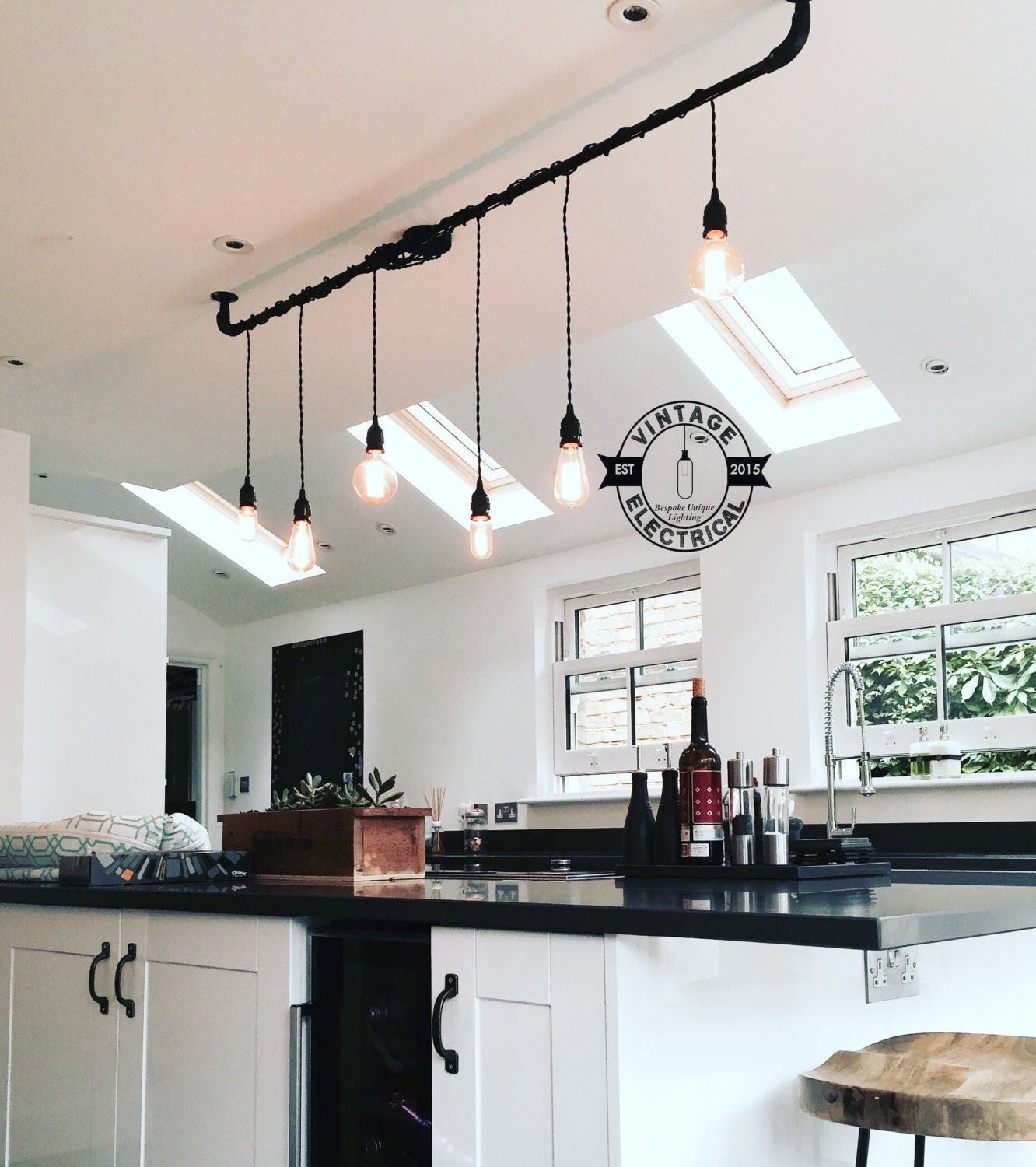 The burnham 6 x pendant drop light hanging lights ceiling - Table cuisine retro ...