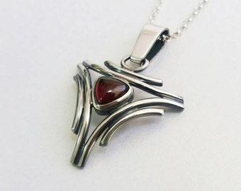 Garnet pendant, sterling silver pendant necklace, boho chic pendant, red Garnet pendant, Garnet necklace, red stone pendant, silver necklace