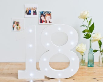 Freestanding White Light Up Numbers, Number 18, Birthday Numbers,  Number Lights, Numbers, Marquee Numbers, Birthday Gift, Top Table Numbers