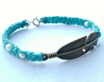 Bronze Feather Hemp Bracelet - Bohemian Bracelet - Boho Bracelet - Boho Hemp Feather Bracelet - Hemp Hippie Bracelet - Boho Feather Bracelet