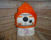 Robot B Hooded Towel for Kids OR Adults, Star Wars BB8 Inspired Hooded Towel -Custom Made to Order