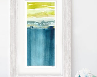 Watercolour Landscape - Blue Yellow Green - A3 - A4 size - Fine Art Print  - Limited Edition - Inspired by Italian Island