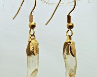 Beryl amber yellow stone earrings