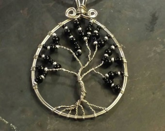 Tree of Life Necklace Pendant - Wire Wrapped - Black - Silver - Stainless Steel - Fancy - Beautiful - Chic - Elegant - Gift for Her - Idea