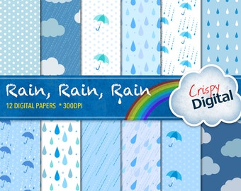 Rain Drops, Polka Dots, Clouds and Umbrellas Digital Papers Blue and Green 12pcs 300dpi Digital Download Scrapbooking Printable Paper