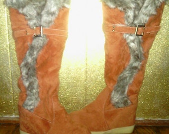 Vintage Fur Knee Boot