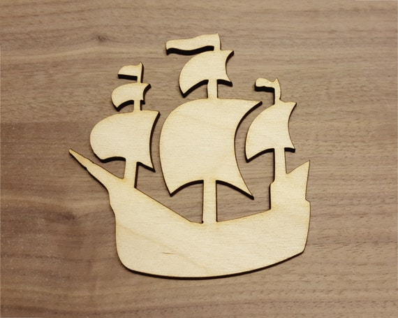 Ship Large & Small Laser Cut Unfinished Wood Cutout