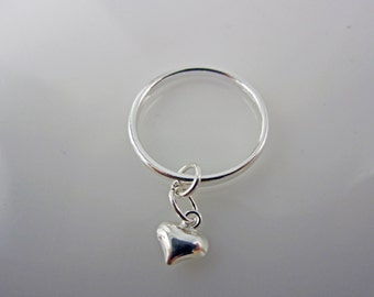Sterling Silver Heart Charm Ring