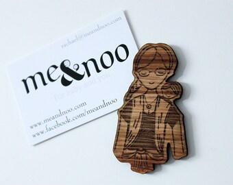 Babywearing wooden magnet-Meitai time