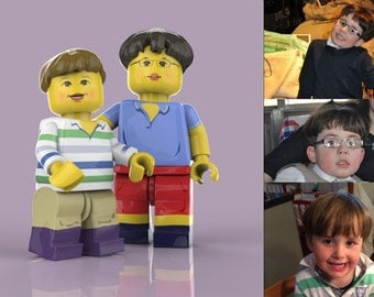 Personalized children - Custom Children Portrait - brothers gift. Lego portrait. Kid's Illustration. birthday gift. lego birthday shirt.