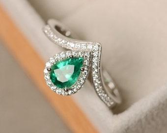 Emerald ring, pear cut, gemstone ring emerald