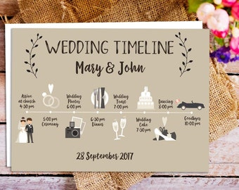 printable wedding itinerary, Custom Big Day timeline program, wedding timeline, Program of Events, Printable Wedding Timeline card icon