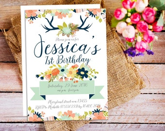Antler First Birthday invitation, Boho birthday party invitation, Folk Invitation, Printable Kids Party Invite, Antler Invitation Boho