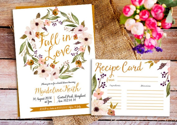 Fall Wedding Shower Invitations: Items Similar To Fall In Love Bridal Shower Invite