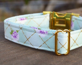 Stephanie. Dog Collar, Floral, Mint, Gold Metallic, Girl, Gold Hardware, Metal Hardware