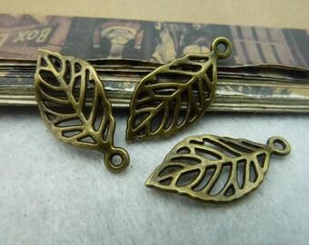 BULK 50 Small Leaf Charms Antique Bronze Tone - WS6010