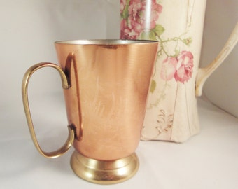 Vintage Copper and Brass Two Tone Mug Tankard - Made in England