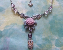 Flower Garden Owl Necklace / Silver Leaf Branch and Rose Charms Purple Glass Bead Pale Lilac Chrysanthemum Lucite Cabochon Statement #1468