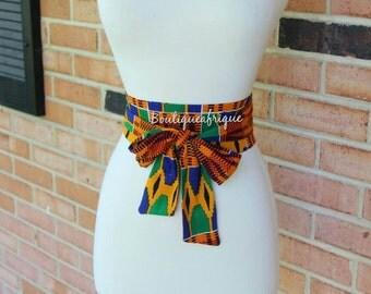 African print obi belt wraps. Obi sash Belt, African clothing style obi sash belt.