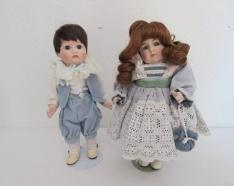 Adorable Vintage Brother and Sister Porcelain Dolls