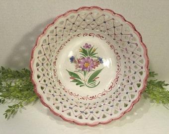 Vintage porcelain bowl hand painted in Portugal