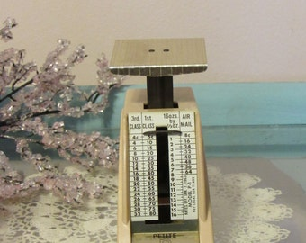 Vintage Postal Scale 1963 Prices  5 Cents First Class Pelouze Evanston