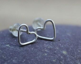 Handmade Sterling Silver Heart Stud Earrings