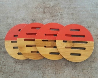 Set of 4 Wooden Coasters - Red