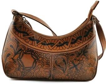 Hand Designed, Leather Handbag, Upcycled Purse, Zentangle