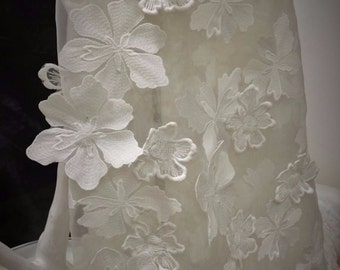 3D ivory flower lace fabric, organza base , handmade, 3d ivory  fabric, 3D lace, embroidered lace    B000013