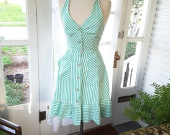 1970's 1970s Vintage Candy Stripe Sailor Dress 70s 70's Small to Medium Mint Green