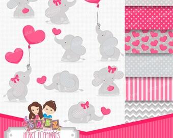 Heart Elephants, Clipart, Digital Papers, Valentine, Hearts, Decorative