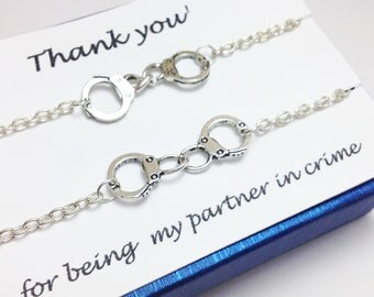 Set of 2 partner in crime bracelets - bff bracelet - handcuff bracelet - friendship bracelet - gift for her - birthday