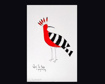 Screenprint. Hoopoe.