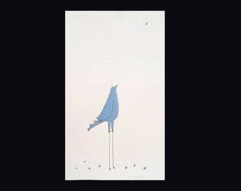 Screenprint. Bird gazing wistfully at star