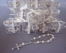 Lot of 35 Cute Adorable Boxed Ivory Pearl Mini Rosary Favors for Baptism, Christening Communion Baby Shower Single Decade Pocket Rosary Gift