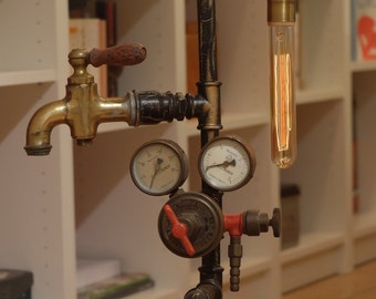 Industrial lamp with gauge and Vintage faucet