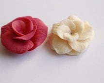 Set of 2 handmade resin clay roses, for jewelry making, crafting, decoration / R36