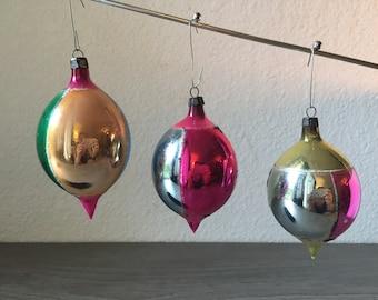 Set of 3 Vintage Teardrop Christmas ornament, Poland