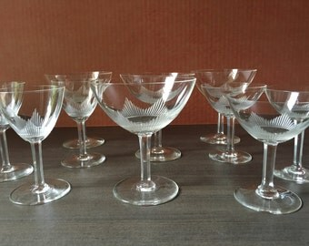 Vintage Kosta Boda crystal glasses, Claire pattern